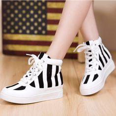 New Fashion Womens Ladies Korean Canvas High Platform Shoes Boots Sneakers