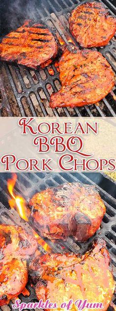 These Korean BBQ Pork Chops are packed with with a little sweet, a little heat, and a lot of juicy. A ton of smoky flavor and super tender. These are among some of the best pork chops we have ever ate! Asian Pork Chops, Smoked Pork Chops, Grilled Pork Chops, Pork Chop Recipes, Grilling Recipes, Cooking Recipes, Picnic Recipes, Picnic Ideas, Picnic Foods