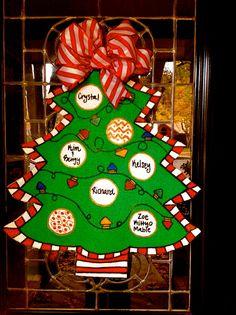 Burlap Christmas Tree Door Hanger by Disideas on Etsy, $50.00