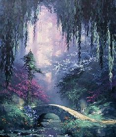 Fantasy Art Landscapes, Fantasy Landscape, Abstract Landscape, Fantasy Forest, Fantasy World, Beautiful Fantasy Art, Environmental Art, Anime Art Girl, Canvas Artwork