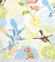 Maybe for Kitchen curtains.  Colors are more vibrant in person.:  Legacy Studio Cotton Fabric-Fresh Fusion Large Spring Floral Cream