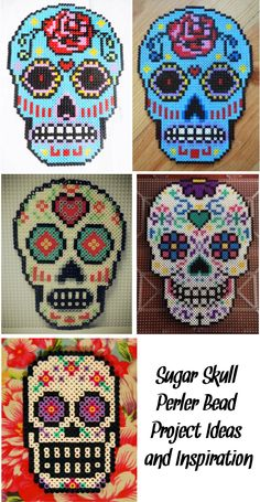 ('Sugar Skull Perler Bead Project Ideas and Inspiration...!')