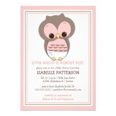 Sweet Baby Owl It's a Girl Baby Shower Invitation