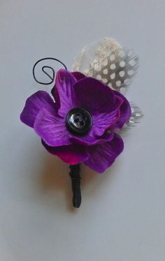 Purple Wedding - Button Bloom Boutonniere