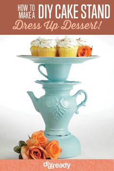 How to Make a DIY Cake Stand, instructions at http://diyready.com/how-to-make-a-diy-cake-stand-using-an-old-teapot