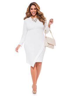 Envelope Hem Sheath Dress by Ashley Stewart