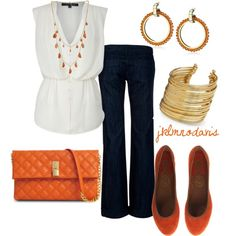 Weekend Outfit - Simple White Top with Jeans and Bright Orange/Gold Accents Skip the necklace, but everything else is cute. Weekend Outfit, Weekend Wear, Work Fashion, Fashion Outfits, Womens Fashion, My Escape, Business Fashion, Business Casual, My Wardrobe