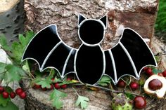 Stained Glass Halloween Black Bat Suncatcher by StainedGlassFayre, €16.00