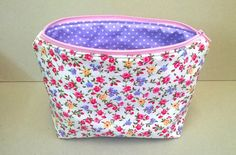 Make up bag with small pink and lilac flowers, Large cotton make up bag, ladies cosmetic storage,  zipped pouch, cosmetic bag, make up case