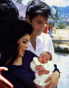 Elvis, Priscilla, & baby Lisa Marie