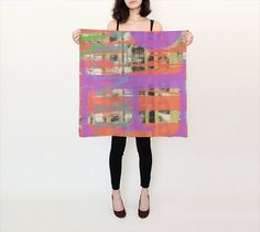 silk scarf, unique, wearable art, gifts for her, luxury, abstract design, baby rolled edge hem, square silk scarf, made to order, fine art