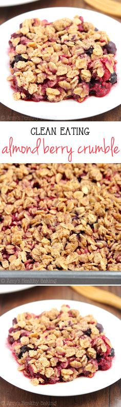 I used this crumble recipe on top of homemade cherry pie filling. Clean-Eating Almond Berry Crumble -- this easy dessert is healthy enough for breakfast! It has a full serving of fruit & just 130 calories! Healthy Dessert Recipes, Healthy Baking, Healthy Desserts, Easy Desserts, Baking Recipes, Light Desserts, Healthy Breakfasts, Healthy Foods, Dessert Simple