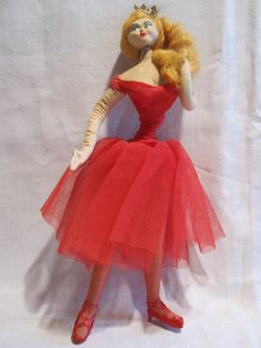 SOLD 1950s LAYNA Spain cloth doll Spanish ballet dancer crown red tutu & stockings