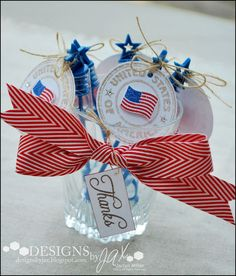 Such a cute idea for a 4th of July Party Centerpiece from Jaclyn Miller! Fill up a jar with bubbles and decorate them up patriotic style. All the stamps she used to decorate the bubble bottles and jar are from TechniqueTuesday.com.