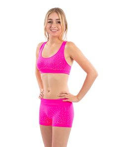 035de24cc8 Pink scattered sequin nylon spandex sports bra top and shorts Racerback Sports  Bra
