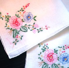 Colorful Camellias Handkerchief from Accent Linens.