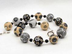 """ November "" Kette Polymer Clay Lampwork Designer  von filigran-Design   auf DaWanda.com necklace from polymer clay beads, art"