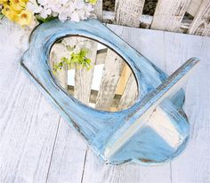 Denim Blue SHABBY CHIC Oval Wall Mirror and by HuckleberryVntg, $32.00