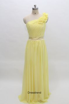 Bridesmaid Dress Oneshoulder  Long Yellow Bridesmaid by DressTrend, $119.99