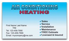 Ac heating cooling business card air conditioning companies hvac business cards style 201 reheart Image collections