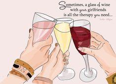 Wine Art  Art for Friends Friendship by RoseHillDesignStudio