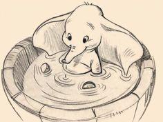 "Walt Disney Sketch of Dumbo from ""Dumbo"" Gif Disney, Disney And Dreamworks, Disney Love, Disney Magic, Disney Art, Disney Pixar, Dumbo Disney, Disney Cartoons, Disney Sketches"