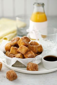 Cinnamon French Toast Bites served with maple syrup
