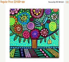 50% Off Today- Tree art Tile Ceramic Coaster Mexican Folk Art Print of painting by Heather Galler