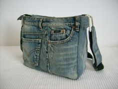 Hand sewing, from an old jeans.