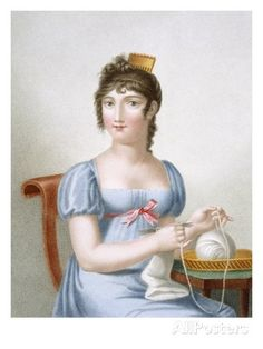 The Knitter, Engraved by Duthe, C.1816 (Coloured Engraving) Giclee Print by Madame G. Busset-Dubruste