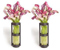 Danya B. Metal Stand Glass Cylinder Vases, Set of 2 * Check this awesome product by going to the link at the image. (This is an affiliate link) #Vases