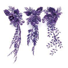 Purple Glitter Flower Clip On Pick