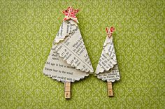 Book paper tree: Christmas Trees made from vintage papers using pattern from Inkspired Treasures: http://inkspiredtreasures.com/cards/stamping-411-folded-christmas-tree/