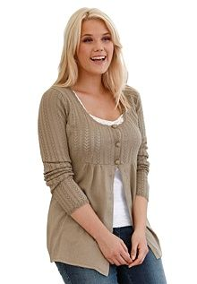 Pretty cardigan. I like the deep scoop neck and the empire line.