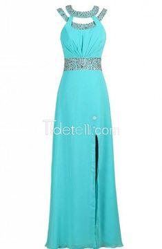 Charming Sheath Scoop Floor Length Beaded Chiffon Prom Dress with Slit