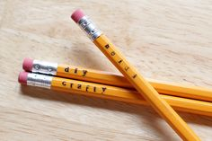 How to stamp and personalize basic pencils + more dressed up school supplies.