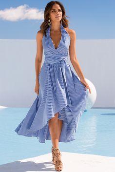 Trending Fashion | Women's Blue and White Stripe Halter Poplin Dress by Boston Proper.