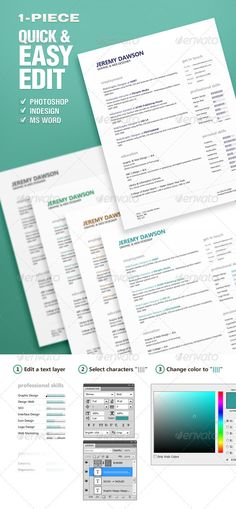Resume CV Template PSD, MS Word - A4 and Us Letter Paper Size - resume paper size
