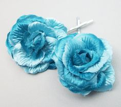 Handmade Mini Blue Rose Hair Clip Set Of 2 by Alwaysabridesmade, $12.50