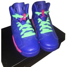 Pre-owned Nike Air Jordan 6 Retro Gg Blue Pink White Athletic Shoes ($160) ❤ liked on Polyvore featuring shoes, blue pink white, nike, retro inspired shoes, python shoes, blue shoes and white shoes
