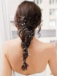 lord of the rings wedding - silver leaves and vines entwined in hair.