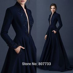 Find More Prom Dresses Information about W437 Fashionable 2015 beaded front slit high neck navy blue prom dress long sleeve,High Quality sleeve shirt,China sleeve polo Suppliers, Cheap sleev from JM.Bridals on Aliexpress.com