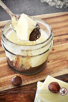 A quick and light dessert featuring white chocolate and chunky Nutella, perfect for dinner guests or as a simple indulgence.