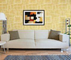 Mid Century, Modern, or Retro Home Decor Designs - Geometric Squares Wall Stencils - Royal Design Studio