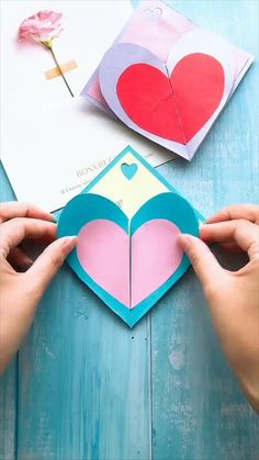Diy Crafts For Adults, Diy Crafts For Gifts, Valentines Day Cards Diy, Valentine Crafts, Origami Cards, Origami Paper, Foam Sheet Crafts, Diy Envelope, Christmas Card Crafts