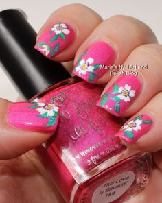 Floral vine nail art on This Love is Smokin' Hot