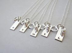 Bridesmaid Gift set of Five Personalized Necklaces with Pearl and Heart Charm