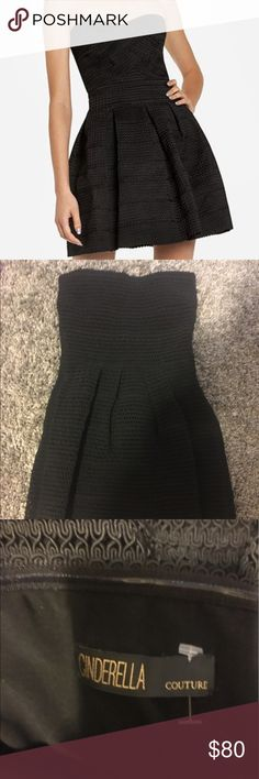"""EUC black strapless dress with flared bottom I love this dress but it's slightly too big for me. There are no flaws. It's in excellent condition. Has silicone banding around the top of the dress to keep it up as well as a zipper on the side for easy on off. Sad to see this one go. Brand is """"Cinderella Couture"""" listed under FLL for exposure. Pls note first image is of similar dress. All other images are of actual For Love and Lemons Dresses Mini"""
