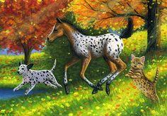Appaloosa foal horse dalmatian dog bengal cat fall original aceo painting art #Realism Bridget Voth (Artist). Ebay ID star-filled-sky
