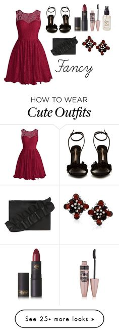 """""""Fancy Outfit"""" by thglover4ever on Polyvore featuring Sophia Webster, Lipstick Queen, Maybelline, Olivine and MSGM"""